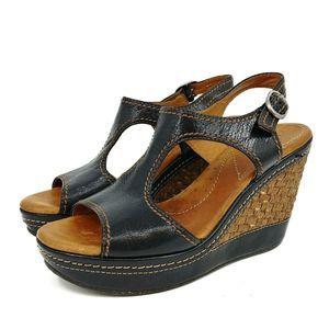 Naya 'Eternal' Black Leather Platform Wedge Sandal